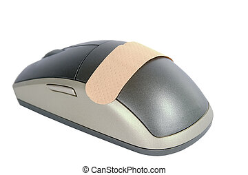 Computer Aid - A cordless mouse with a adhesive bandage on...