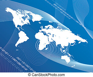World Globalization - A world map montage over a blue...