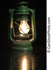 old lantern - old green lamp