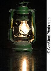 old lantern - old green lamp