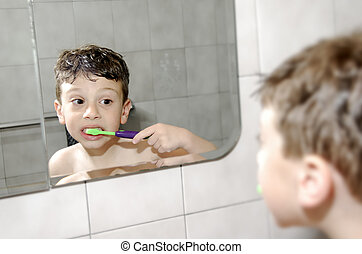 Oral Hygiene - Child Brushing His Teeth