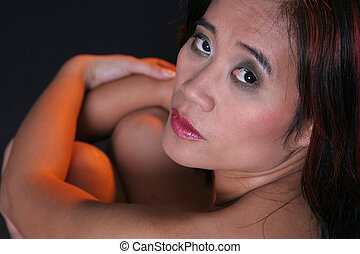 Close View - Asian woman seen from rear