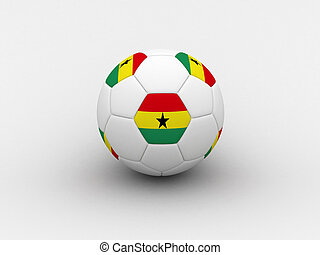 Ghana soccer ball - Photorealistic 3D soccer ball isolated...