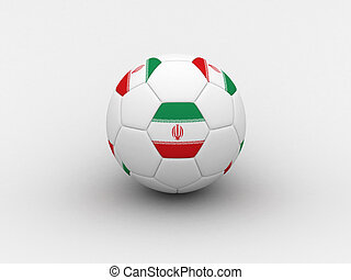 Iran soccer ball - Photorealistic 3D soccer ball isolated on...