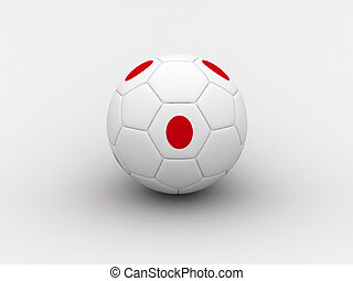 Japan soccer ball - Photorealistic 3D soccer ball isolated...