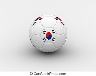 Korea soccer ball - Photorealistic 3D soccer ball isolated...