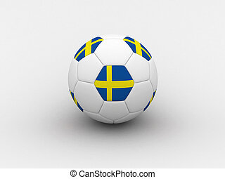 Sweden soccer ball - Photorealistic 3D soccer ball isolated...