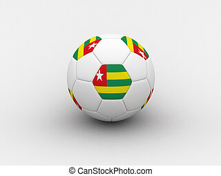 Togo soccer ball - Photorealistic 3D soccer ball isolated on...