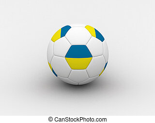 Ukraine soccer ball - Photorealistic 3D soccer ball isolated...