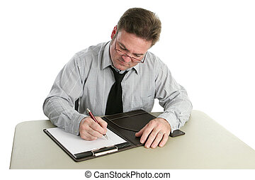 Auditor - Taking Notes - An auditor taking notes on a legal...
