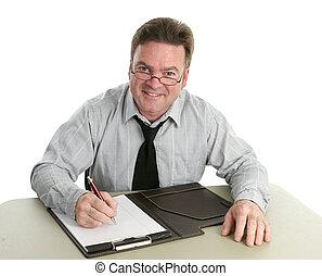 Helpful Worker - A friendly, helpful office worker.