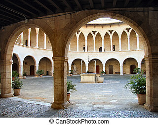 Courtyard in the Castle of Bellver in Majorca (Balearic...