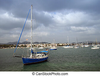 Sailboat in Majorca - Sailboat in the bay of Porto Colom in...