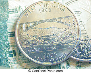 West Virginia - An American Quarter depicting the state of...