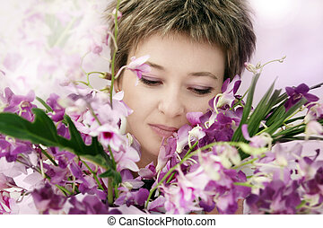 Mother day - Woman enjoying her flowers