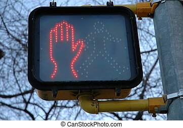 Dont Walk Sign 2 - Orange hand dont walk symbol