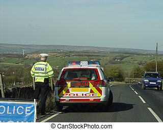 Police car and Slow sign - Policeman with car, stopping...