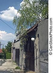 black door and wall - scene of black door and wall