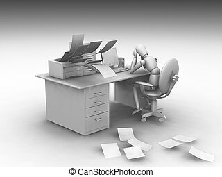 Overworked - 3D rendered image showing someone overworked...