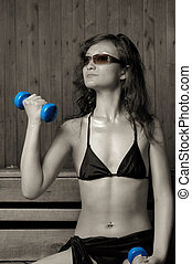 Bath-house 12s - Young beautiful woman in bikini with...