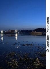 night on Danube - night in boat port