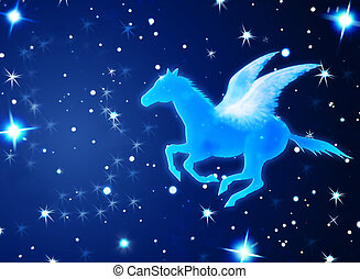 Pegasus Flying In Night - Shining Pegasus flying in the...