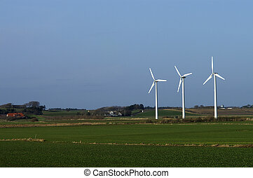 3 Windmills - Three windmills in the danish country