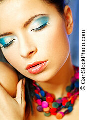 Blue Makeup - Portrait of attractive beautiful young sexy...