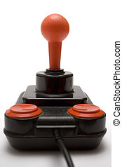 Joystick (Front) - Retro joystick isolated on white.