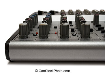 Mixing Desk Front - Detail shot of a small mixer isolated on...
