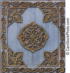 Metal plate 4 - Cast iron metal plate with bronze pattern...