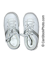 Childs shoes - a pair of white childrens shoes