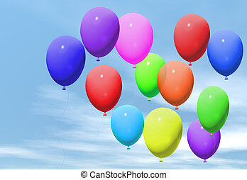Coloured balloons floating in a blue sky