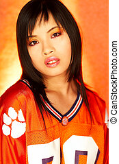 Football Chick - Portrait of attractive beautiful young sexy...
