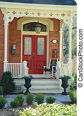 House Entrance - Front door entrance to victorian home with...
