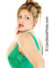 Beautiful Woman - Beautiful young woman in green formal...