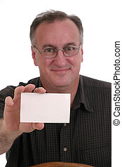 Man Holding Card - friendly, smiling man wearing glasses...