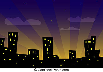 Sunset city - Illustration of city at sunset