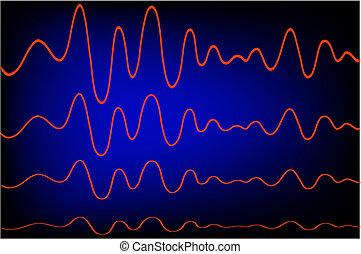 Red waves - Waveform illustration