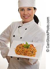 Chef with pasta - Chef holding plate of pasta