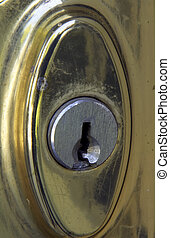 Old Weathered Brass Door Lock - Old brass door lock,...