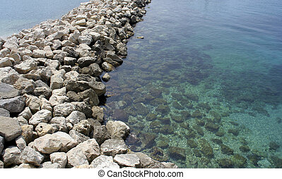 stone outcrop - a manmade line of stones at les goudes,...
