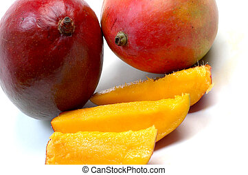 mangoes - juicy ripe mangoes and slices