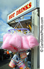 Candy Floss - Seaside candy floss stall on a summers day