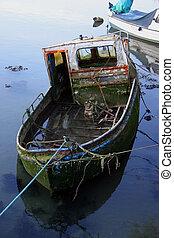 Abandoned boat - Wrecked abandoned fishing boat slowly...