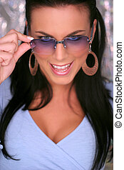beautiful brunette with glasses - beautiful brunette wearing...