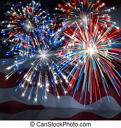 Fireworks over US Flag 3 - Fireworks displayed over the...