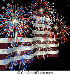 Fireworks over US Flag 1 - Fireworks displayed over the...