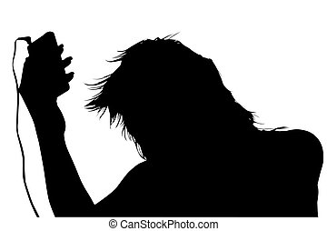 Silhouette With Clipping Path of Girl with Digital Music...