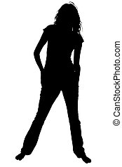 Silhouette With Clipping Path of Brefoot Teen